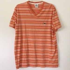 Lacoste orange and white stripe shirt